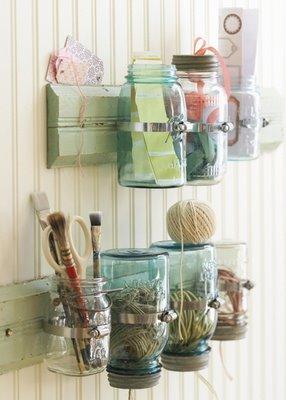 Mason jar craft room