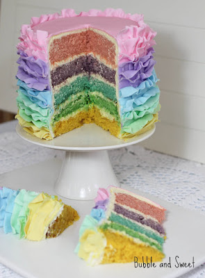 Aa rainbow pastel ruffle cake bubble and sweet